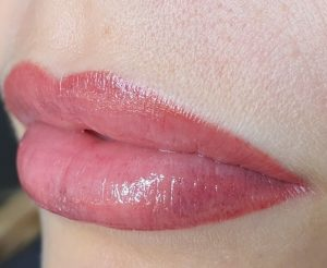 lip cosmetic tattoo has a light contour creation with Lik Nude pigments №3