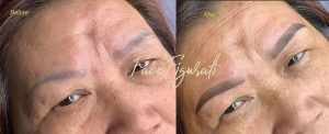 Shading eyebrow tattoo with a light dusting at start of eyebrow and with a deeper gradient to the end