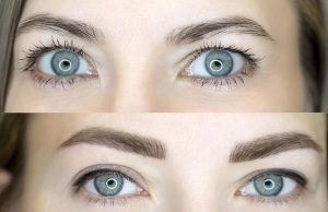 top photo eyebrow tattoo before and below after treatment, looks very natural